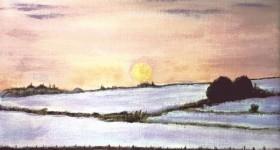 Moonrise Snowscape by JayTopaz